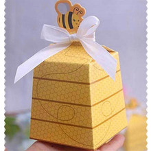 50pcs European Yellow Bee Style Favors Candy Boxes Gift Box with White Ribbons Baby Shower Wedding Birthday Party Supplies(China)