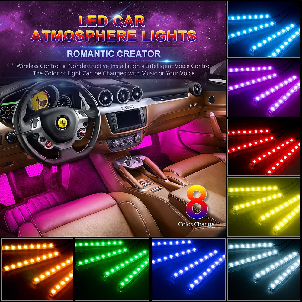 Car LED Strip Light 48 LEDs Multicolor Music Car Interior Lights Under Dash Lighting Waterproof