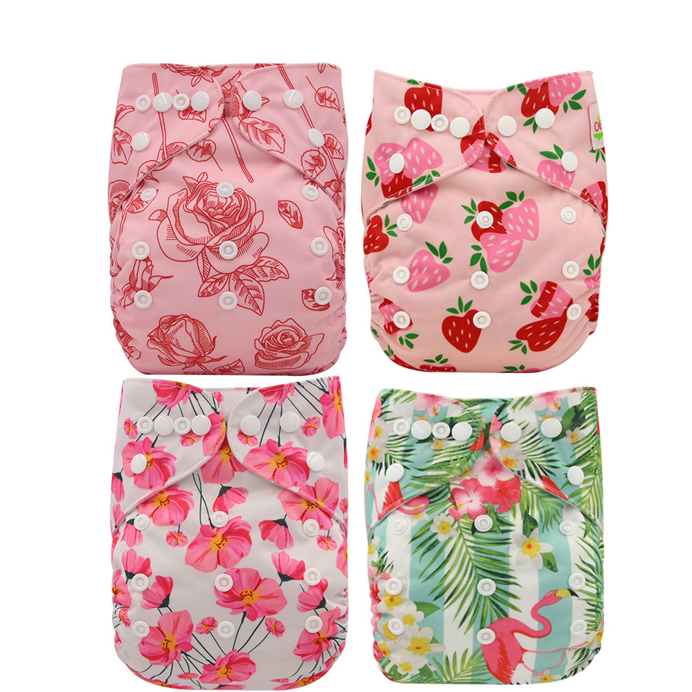 Ohbabyka 4Pcs/set Waterproof Reusable Infant Pocket Cloth Diaper Flamingo Baby Diaper Covers Size Adjustable Baby Training Pants