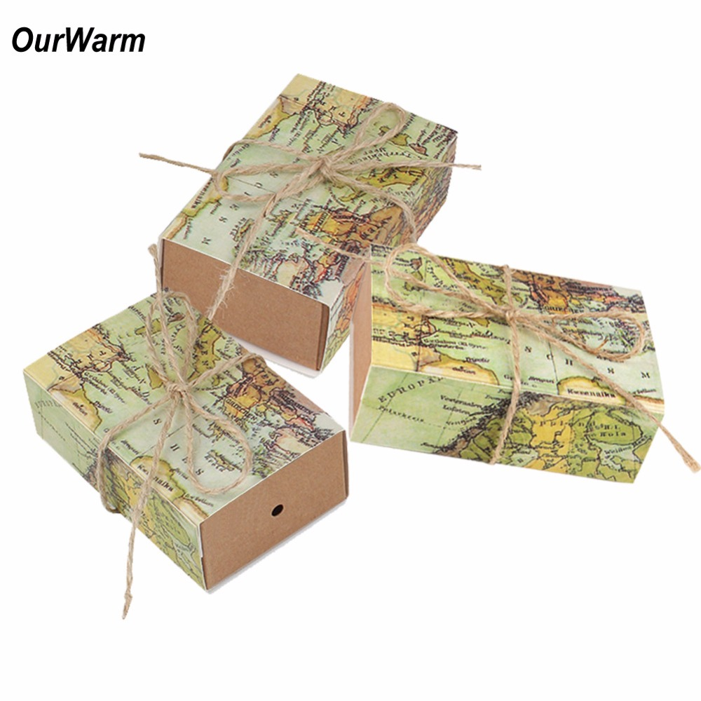 OurWarm 10pcs Candy Box Travel Themed Wedding Decoration Wedding Party Favors and Gifts Bag for Guest Valentines Day Present
