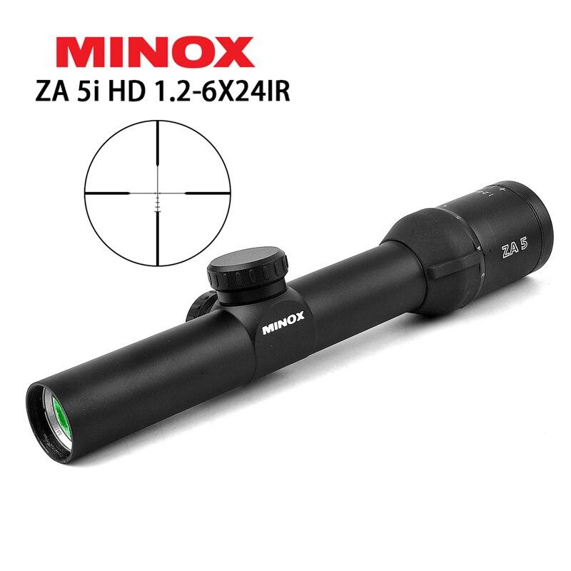 Brillante Minox Hd Za5i 1,2-6x24 Ir Táctico Riflescope Caza ámbitos Para Ak47 Ar15 M4 Caza Del Vestir Francotirador Rifle Suave De Aire De Engranaje