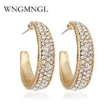 WNGMNGL New Women 2018 Gold Earrings Rhinestone Crystal Shape Stud For Charm Statement Fashion Jewelry Gift