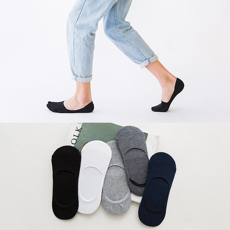 Men's Spring And Summer Cotton Solid Color Stealth Socks Leisure Silicone Non-slip Male Socks