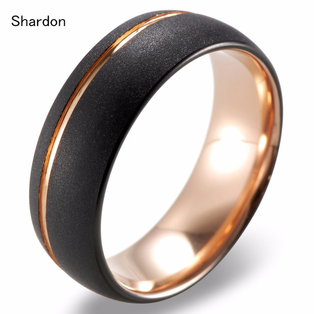 SHARDON 8mm Men's Gold Groove Black Tungsten Ring Gold inside Sandblasted Crystalline Finish Engagement Promise Ring for Men