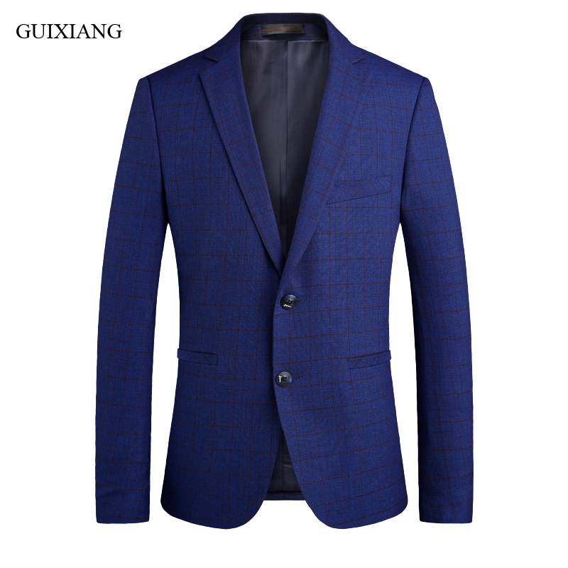 High quality Men boutique leisure blazers business casual single breasted blazers suit men's blue grid slim overcoat size S 3XL