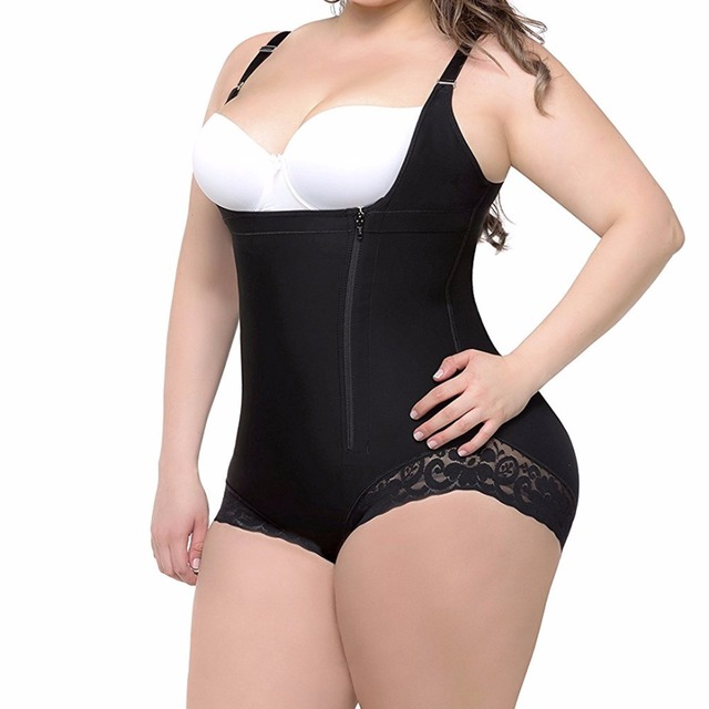 c26cd6c986 S-6XL Zip up Tummy Control Slimming bodysuit body shaper Waist trainer with butt  lifter butt enhancer for post partum women E118
