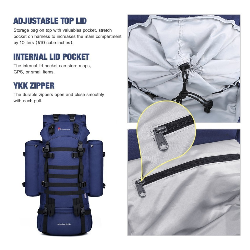 Mountaintop 65+10L Internal Frame Tactical Backpack 600D Polyester ...