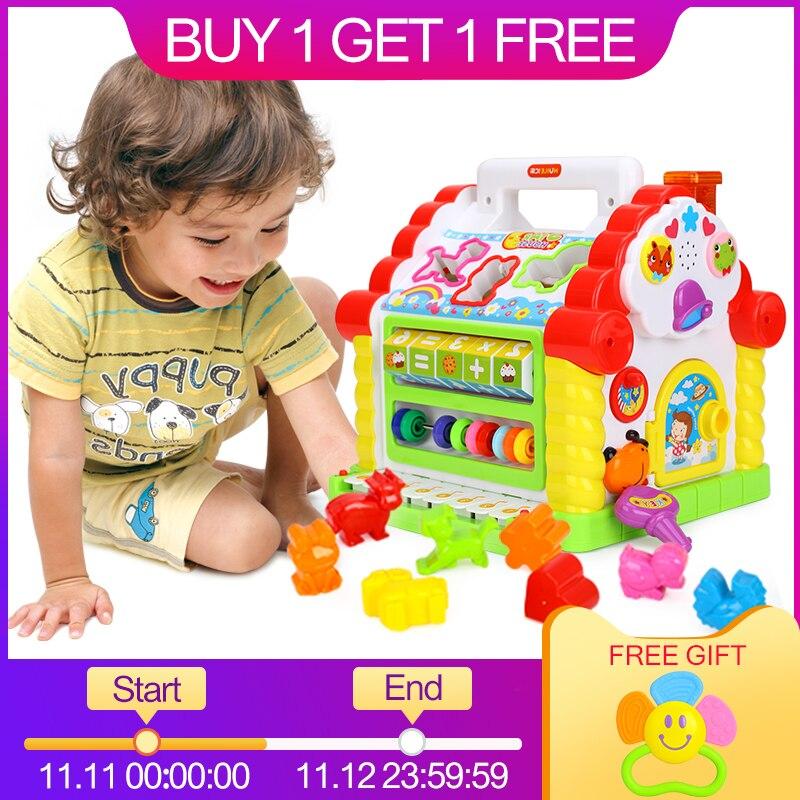 Игрушки Huile 739 Многофункциональные Музыкальные игрушки ребенок весело ДОМ электронный геометрические блоки сортировки обучения Развивающ...