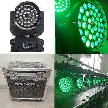 (2 אורות + מקרה) אורות דיסקו effets lyres זום 36x10 rgbw led לשטוף לשטוף led זום נע מקרה טיסה אור הראש