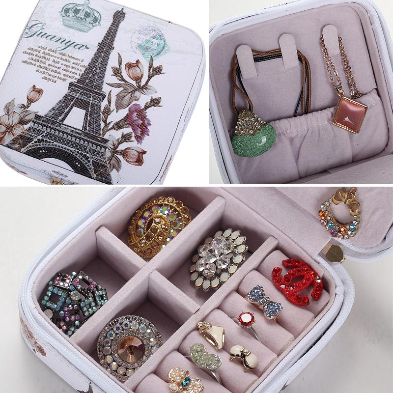 2019 Classical High Grade Fashion Printed Leather Jewelry Box Protable Jewelry Casket 7 Color Love Gift Choice Cosmetic Box in Jewelry Packaging Display from Jewelry Accessories