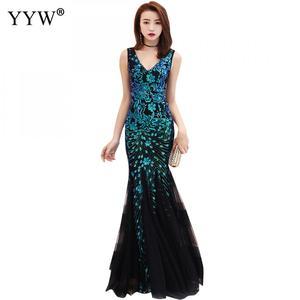 Image 5 - Elegante lantejoulas feminino luxo longo vestido de noite formal clube festa vestidos bordado cheongsam tradicional chinês sereia vestido