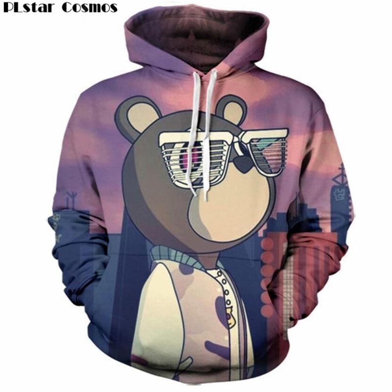 PLstar Cosmos 3D Hoodies Men/Women casual Sweatshirt kanye graduation Print Funny Hoody Cute Cartoon Clothing Plus size 5XL