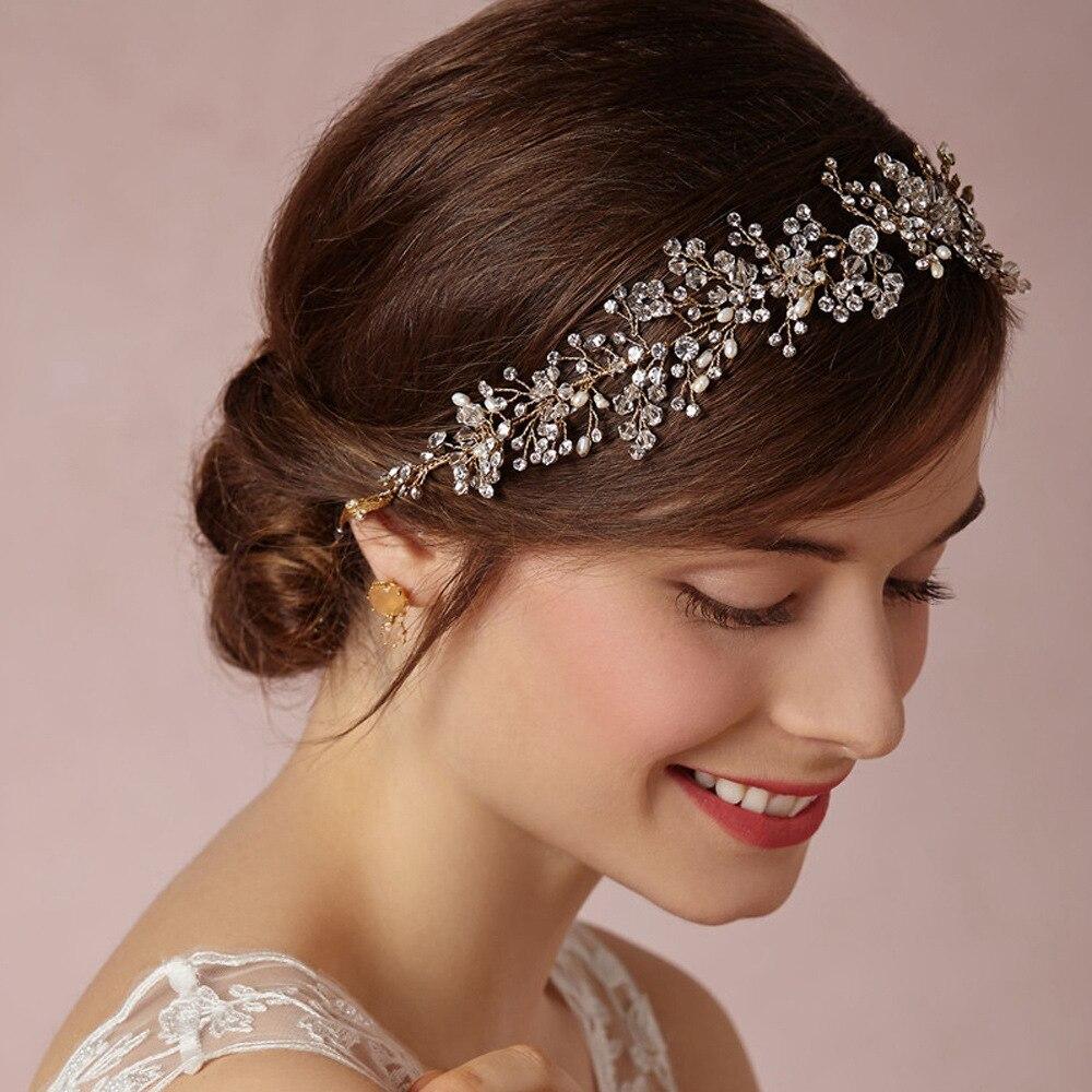 handmade beads headband wedding style pearl crystal crowns hair