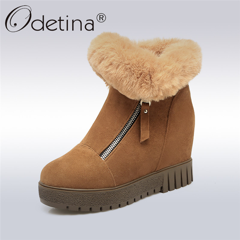 Odetina 2017 Fashion Women Hidden High Heel Platform Wedge Ankle Boots For Women Fur Snow Boots Winter Warm Shoes Big Size 34-43 okhotcn golden chain women shoes high wedge shoes platform hidden heel zapatos mujer fashion high top tenis feminino ankle boots