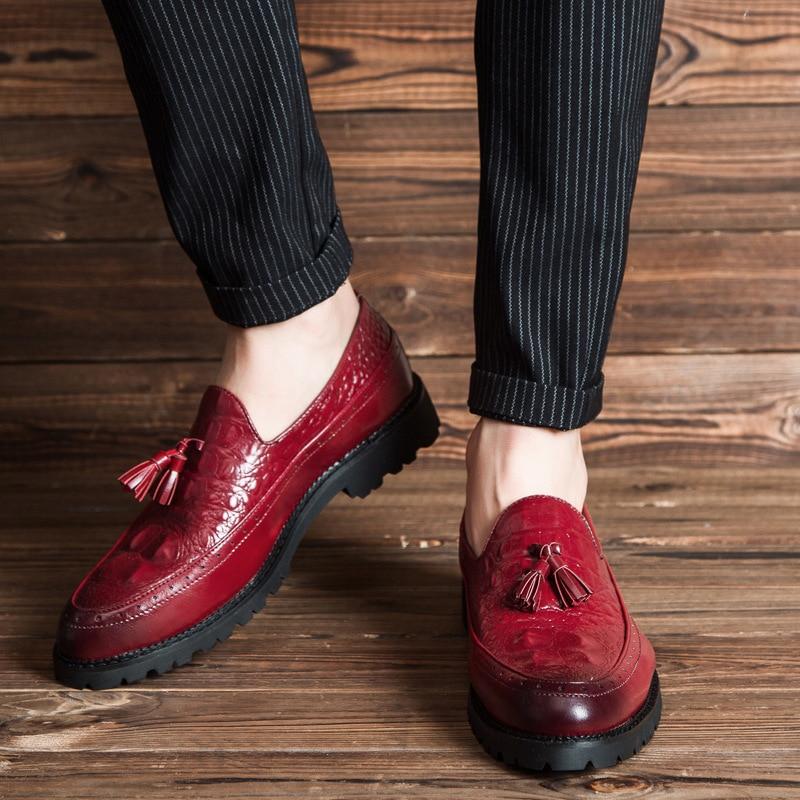 Pour Nouveau Cuir Luxe Mocassins Appartements Marque Black Hommes Casual Tresse Rayures Chaussures Crocodile Conduite yellow Plat red En De 2018 wzqg0RI7