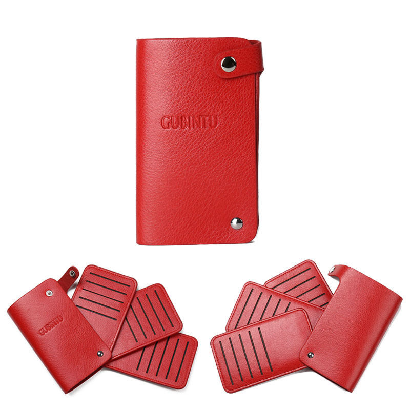 Uni Slim Pu Leather Id Credit Card Holder Pocket Case Purse Bank Business Cards Book Wallet For Women And Men Red