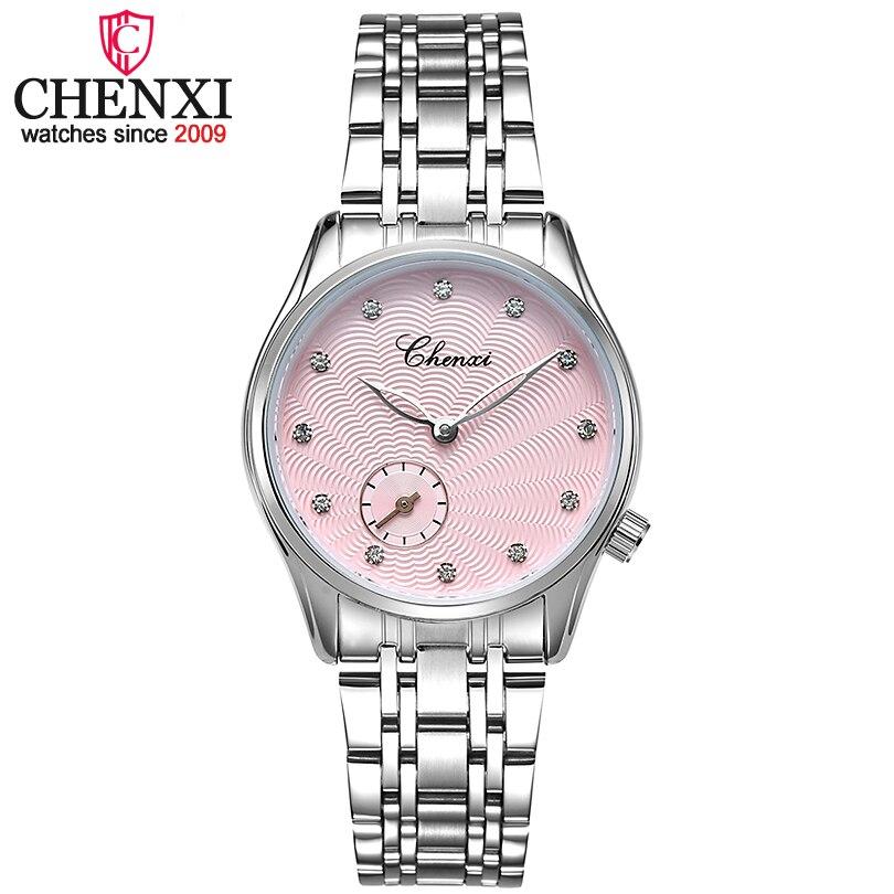 Chenxi marca señora relojes mujeres reloj de cuarzo pulsera de moda relojes de las mujeres de cuero y correa de acero inoxidable reloj