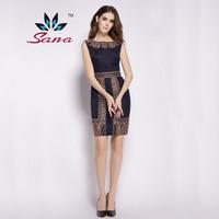 Free Shipping Sana 2015 Famous Brand Women Noble Elegant Basic Dress High Street Sexy Party Homecoming