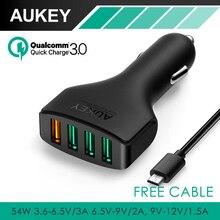 AUKEY Carga Rápida 3.0 Puertos USB adaptador de Cargador de Coche con 54 W y Cable Micro USB para LG G5 Samsung Galaxy S7/S6/Edge Nexus 6 P