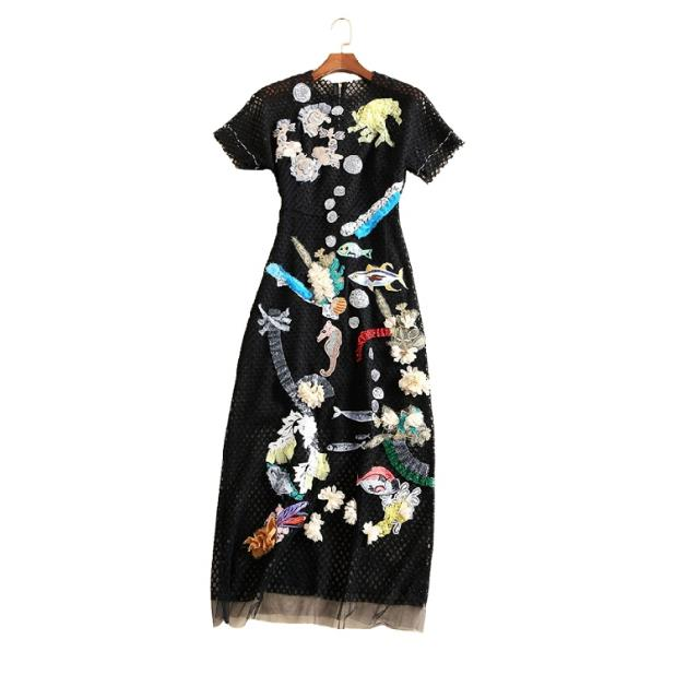 clearance sale Europe and the United States women's clothing The new in the summer of 2017 dress embroidered with sequins