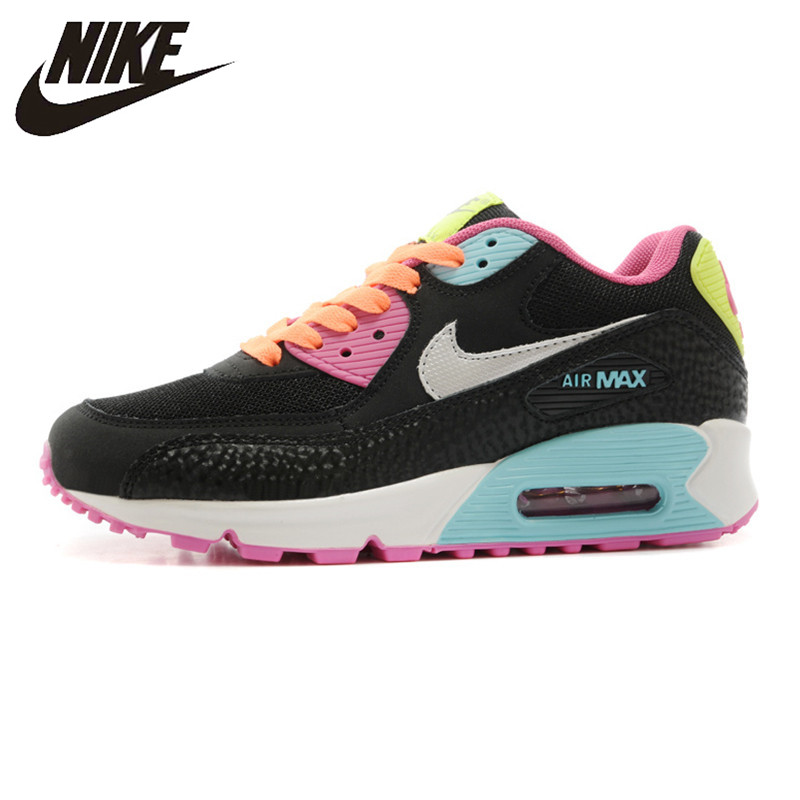 NIKE Air Max 90 Women's Running Shoes, Black & Pink, Shock