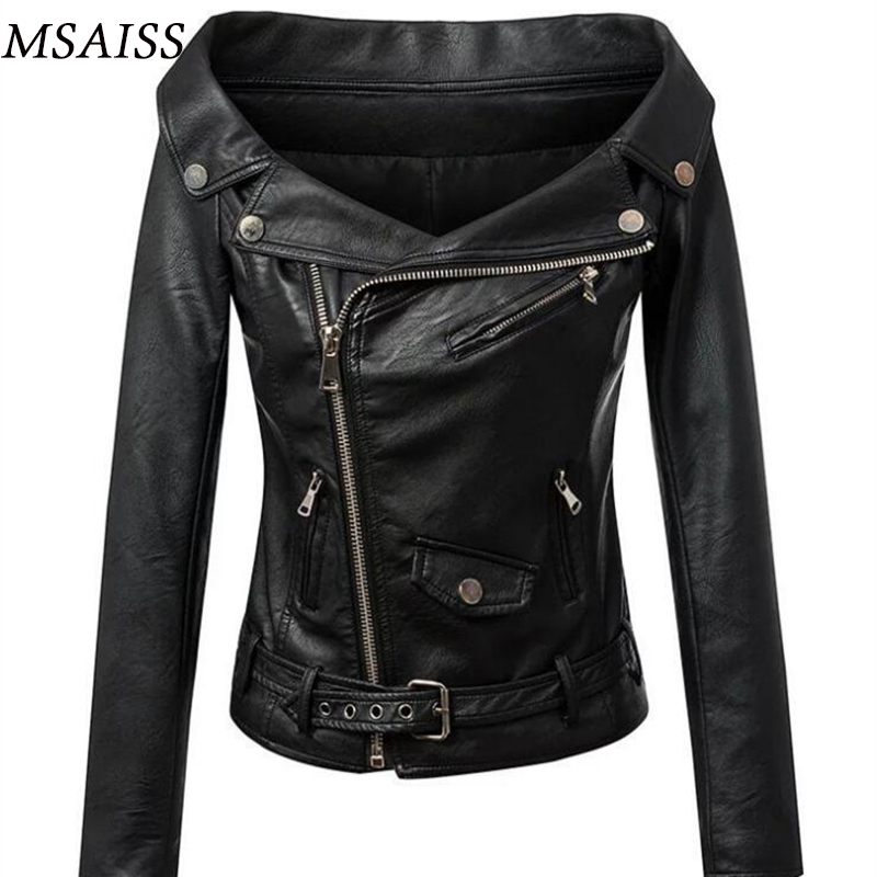 MSAISS Autumn Ladies Leather Jacket 2017 New Female Motorcycle Leather Jacket High Quality PU Female Fur Leather Coat S M L