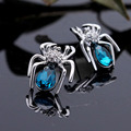 New Arrival Cute Small Spider Shape Crystal Stud Earrings 3 Colors Female Women Silver Plated Jewelry Best Friend Gift