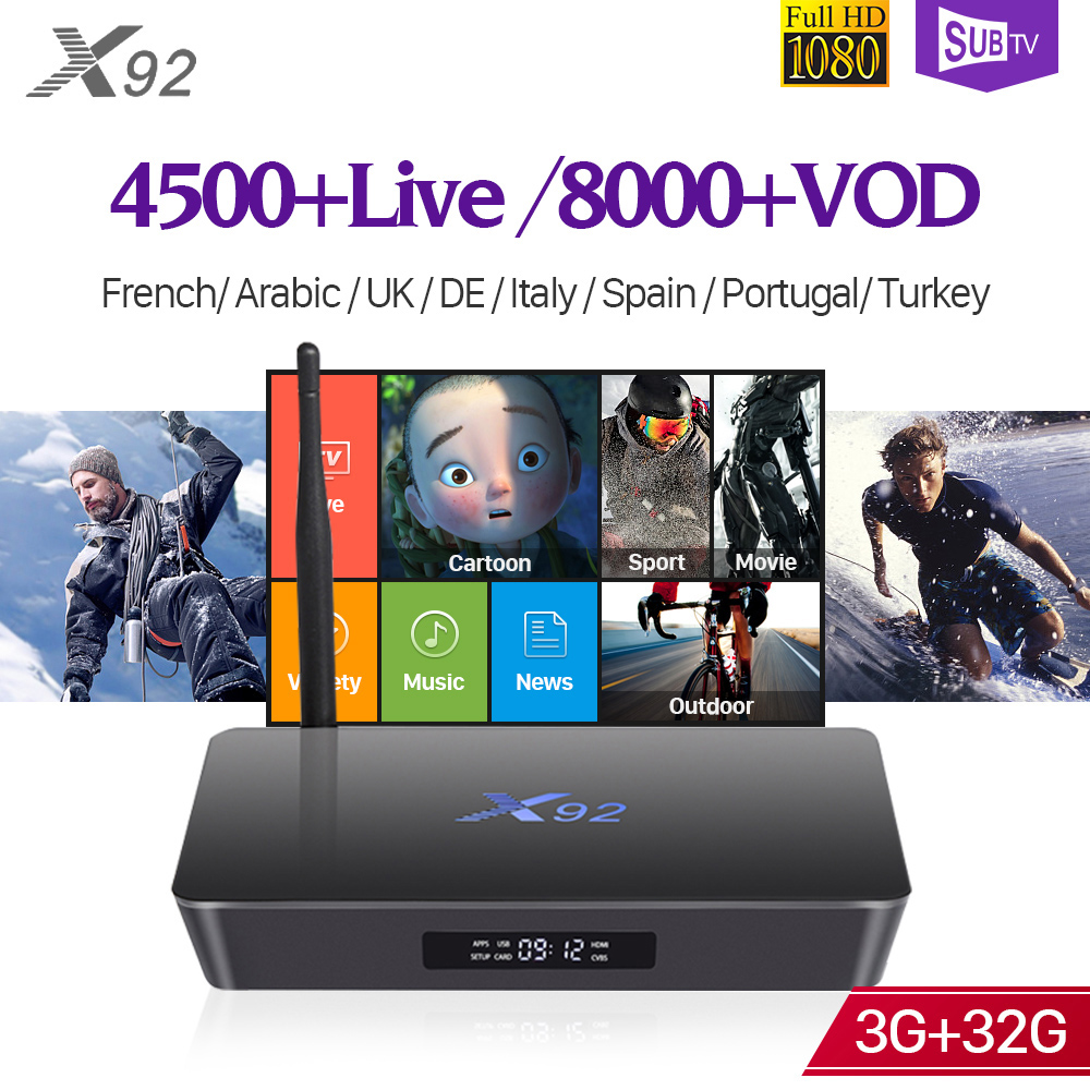 Smart 4K IPTV France Arabic X92 3GB Android 7.1 TV Box S912 IUDTV/QHDTV/SUBTV IPTV 1 Year Arabic French Belgium Spain IPTV Box best hd 1 year arabic europe french iptv italy belgium 1300 live channels av cable for tv box android 7 1 smart tv box s912 box
