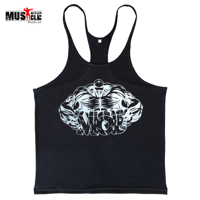 Fitness Men Bodybuilding Shirts Tank Tops Sleeveless Clothing Cotton  Racerback Workout For Man Print Broadcloth Muscle Alive 20f1535c1dd5