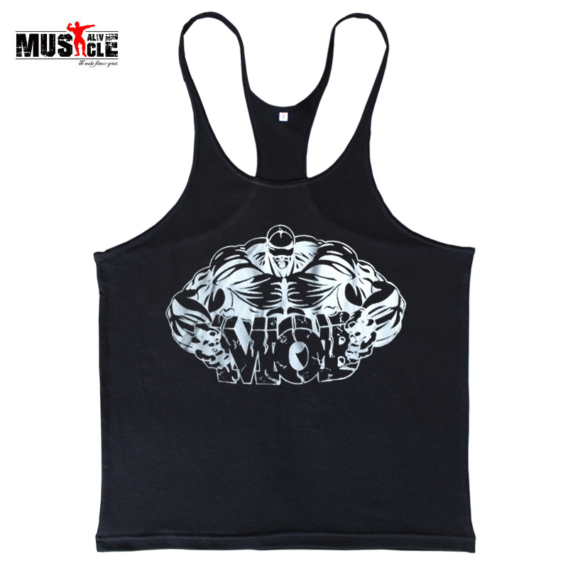 Fitness Men Bodybuilding Shirts   Tank     Tops   Sleeveless Clothing Cotton Racerback Workout For Man Print Broadcloth Muscle Alive