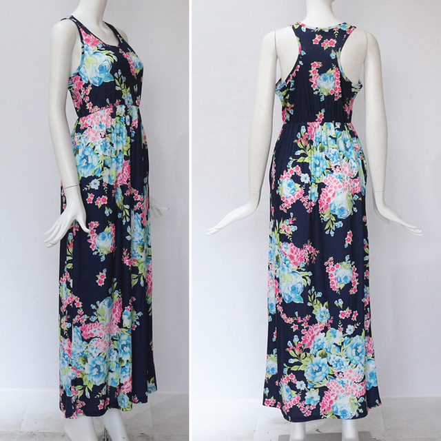 Summer Floral Print Casual Long Boho Dress