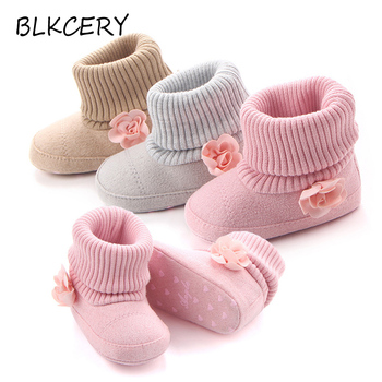 New Born Fashion Baby Boots for Girl Princess Shoes Newborn Boot Infant Booties Toddler Brand Buty with Pink Flowers Shower Gift