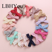 17pcs/lot Hand Tie Cotton Bows Nylon Headbands,10*5cm School Girls Soild Bow Hairbands,Baby Hair Accessories