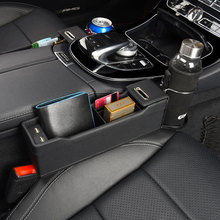 USB Car Organizer Seat Crevice Storage Bag Auto Phone Holder Pouch Gap Key Cigarette Wallet Stowing Tidying For BMW Accessories