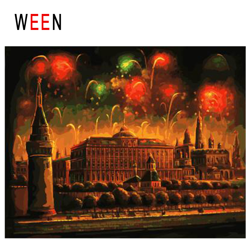 WEEN Fireworks Diy Painting By Numbers Abstract Night Palace Oil Painting On Canvas Cuadros Decoracion Acrylic Home Decor Gift in Painting Calligraphy from Home Garden