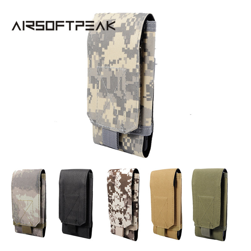 AIRSOFTPEAK Tactical Waist Phone Belt Pouch Molle 5.5 Inch Cellphone Pouch Military Mobile Phone Pouches Accessory Bags airsoftpeak military molle edc pouch mesh tools accessory pouches tactical waist hunting bags outdoor flashlight magazine pocket