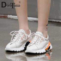 DORATASIA/2019 Новый Инс Горячая Оптовая натуральная кожа кроссовки Для женщин на весну для девочек теннисная обувь женские повседневные туфли