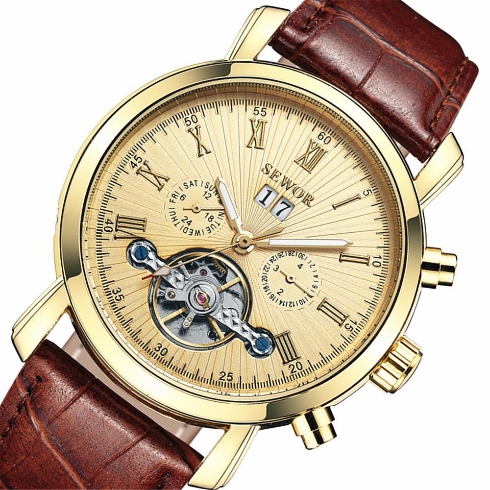SEWOR Calendar Tourbillon Auto Mechanical Mens Watches Top Brand Luxury Leather Strap Wrist Watch erkek kol saati Montre Homme