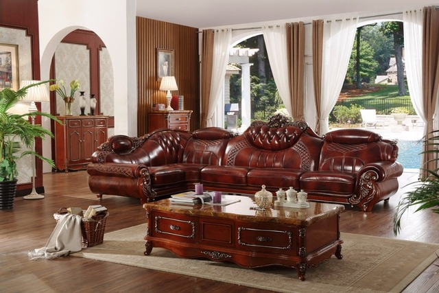 Wood Frame Living Room Furniture Traditional Settees American Leather Sofa Set China Wooden L Shape Corner Blue