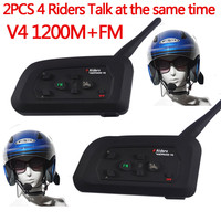 2PCS V4 1200M Motorcycle Bluetooth Helmet Headset BT Intercom Full Duplex Interphone Earphone With FM 4