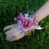 ウェディング用品ビッグ裾ロールアップ模擬-パールブレスレットスタイル花嫁