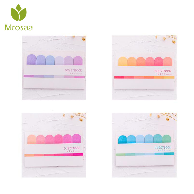 1 Piece Gradient Color Sticky Post Filofax Memo Pads Colorful Guestbook Office Supplies School Scratch Stationery Index Notepad