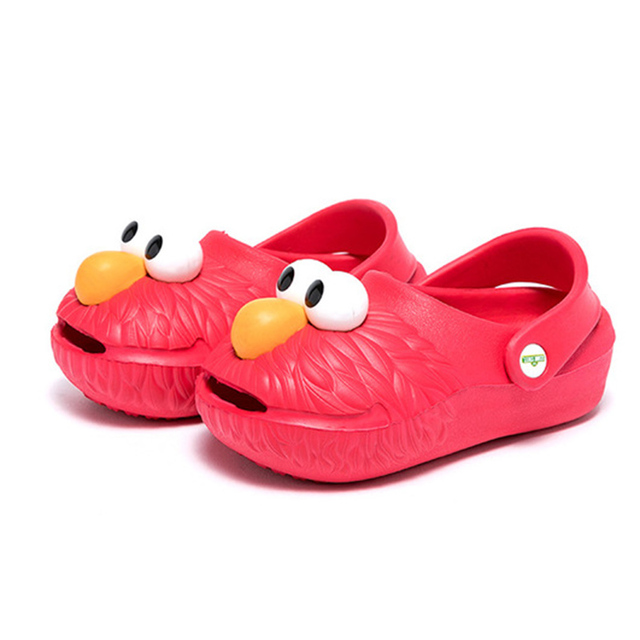 f42a368e691a00 2018 Summer Cartoon Elmo Kids Shoes Clogs Mules Cookie Monster Boys Girls  Beach Sandals Children Casual Shoes
