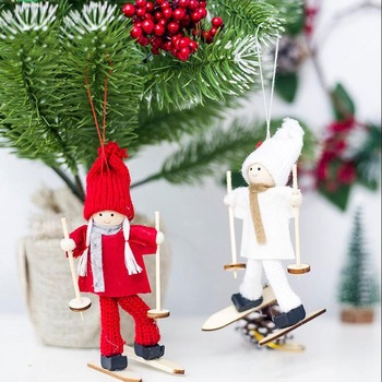 Creative Kawaii Christmas Angel Girl Ski Pendant Christmas Tree Decoration For Home Xmas Cute Doll Party Decoration Kids Gift 1