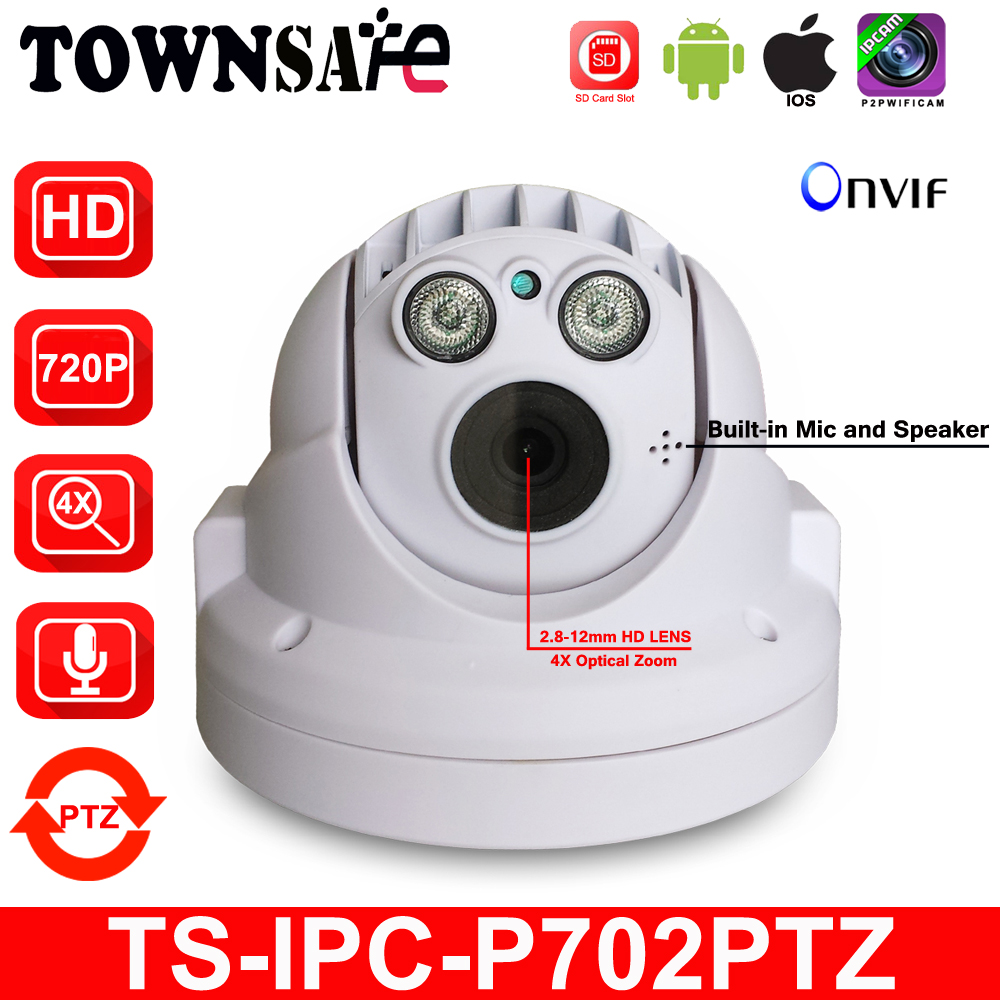 TOWNSAFE new TS-IPC-P702PTZ ONVIF 720P HD 4X Optical Zoom MINI PTZ Dome IP Camera Built-in Mic Audio Array IR P2P Security Cam frees shiping new product pro security 2 in 1 cvbs ipc cctv tester 7inch ipc touch screen camera video ptz tester