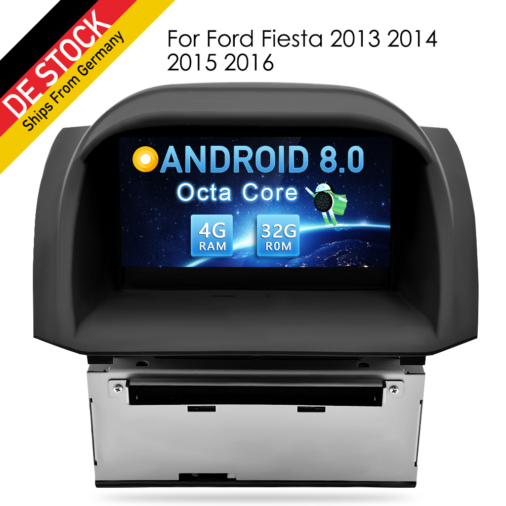 Octa Core 4G RAM Android 8.0 Car DVD Stereo Player sat For Ford Fiesta 2013 2016 GPS Navigation Autoradio Bluetooth Multimedia