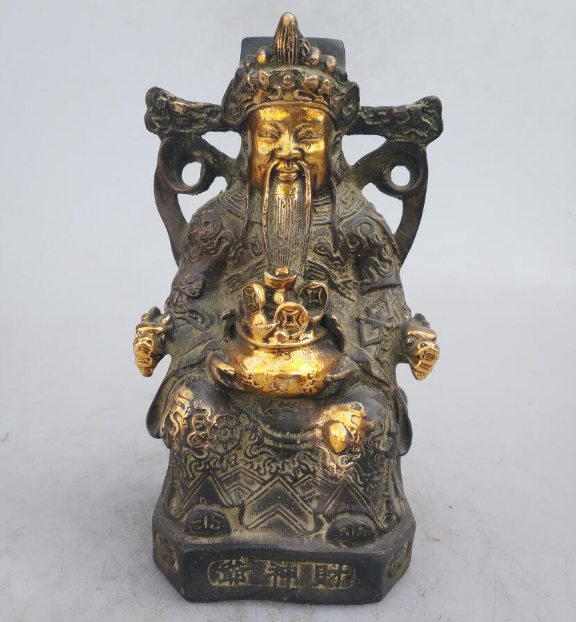 Collection chinese Handmade old bronze Gilt God of wealth statue, Home Decoration antique sculptureCollection chinese Handmade old bronze Gilt God of wealth statue, Home Decoration antique sculpture