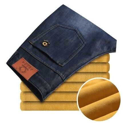 ФОТО Men's winter plus velvet jeans male straight Slim warm dark trousers leisure wild