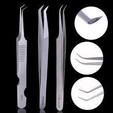 3D 6D Stainless Steel Eyelashes Extension Lash Tweezer Eyelash Tweezers Volume Non magnetic Professional Makeup Tools Set