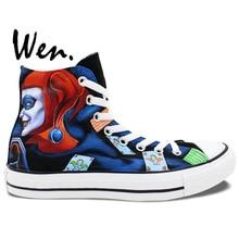 Wen Hand Painted Sneakers Men Women's Design Custom Batman Joker Harley Quinn High Top Canvas Shoes